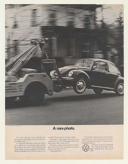Volkswagen Beetle Bug on Tow Truck Rare Photo (1971)