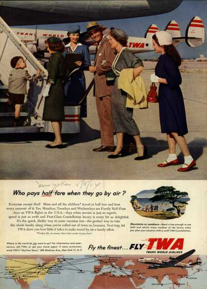 Trans World Airline's Family Half-Fare – Who pays half fare when they go by air? (1954)