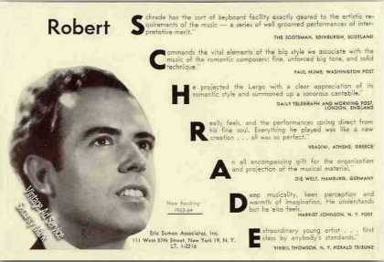 Robert Schrade Photo Pianist Rare Trade (1963)