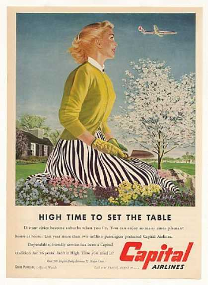 Lady Flower Garden Capital Airlines Ed Hall art (1953)