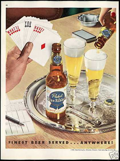 Pabst Blue Ribbon Beer Vintage Photo Card Game (1951)