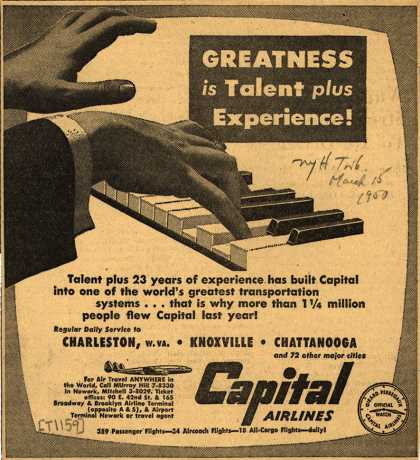 Capital Airlines – Greatness is Talent plus Experience (1950)