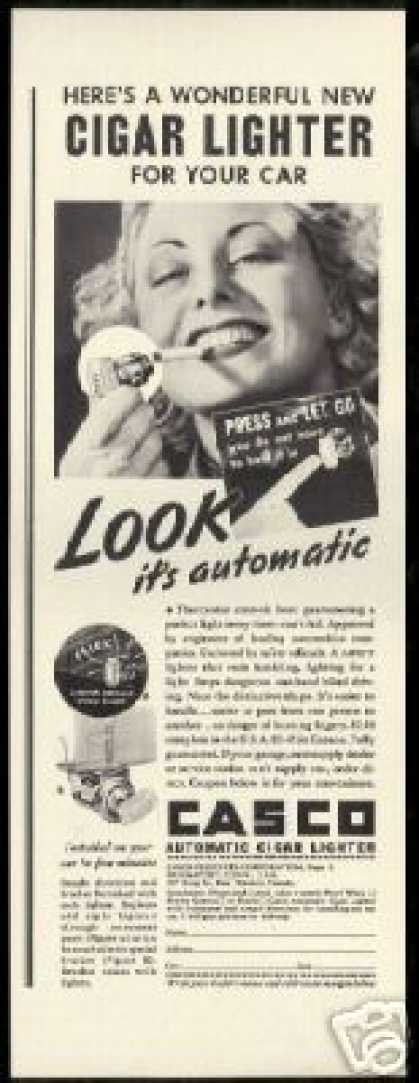 Casco Cigar Car Automatic Cigarette Lighter (1937)