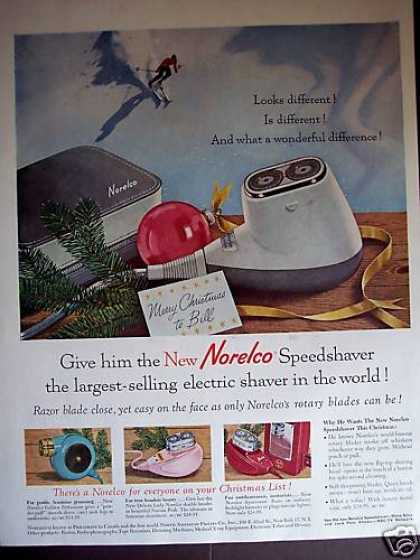 Skiing Art Norelco Speedshaver Christmas (1958)