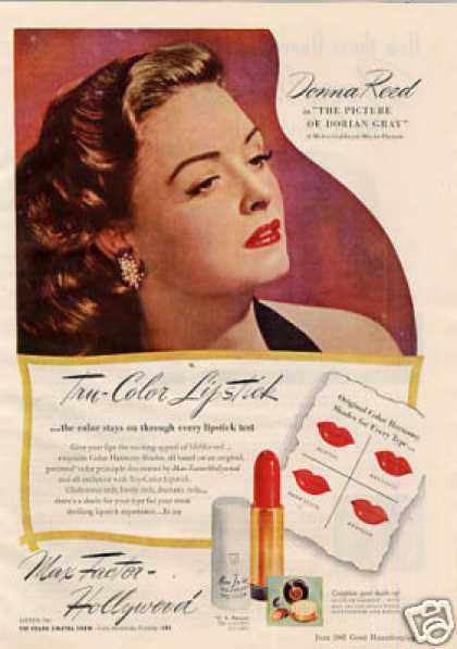 Max-factor Make-up Ad Donna Reed (1945)