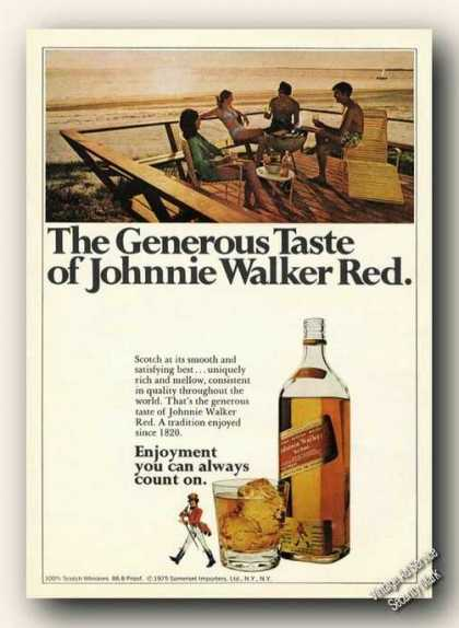 Johnnie Walker Red Beach Theme Ad Scotch (1975)