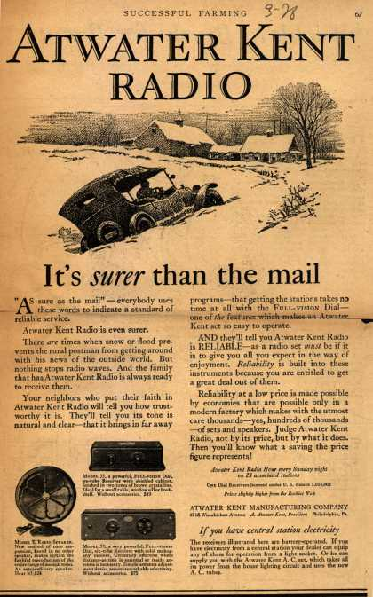 Atwater Kent's Radio – Atwater Kent Radio: It's surer than the mail (1928)