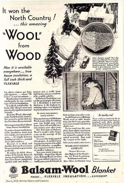 Wood Conversion Company's Balsam-Wool Blanket Insulation (1930)