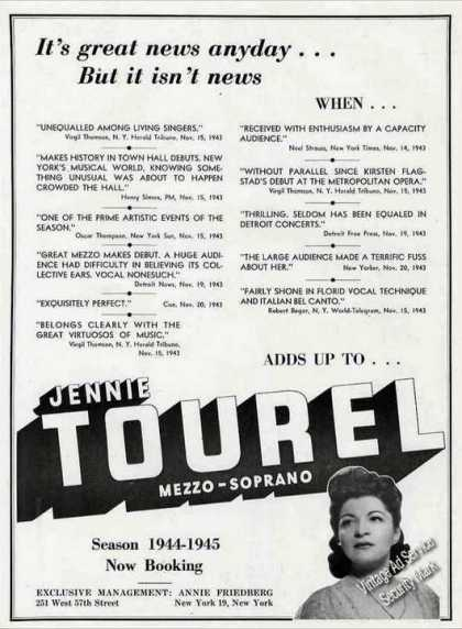 Jennie Tourel Mezzo-soprano Opera Booking (1944)