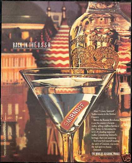 Smirnoff Vodka Back in the USSR Russia (1990)