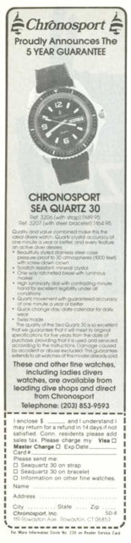 Chronosport Seaquartz 30 Scuba Divers Watches (1978)