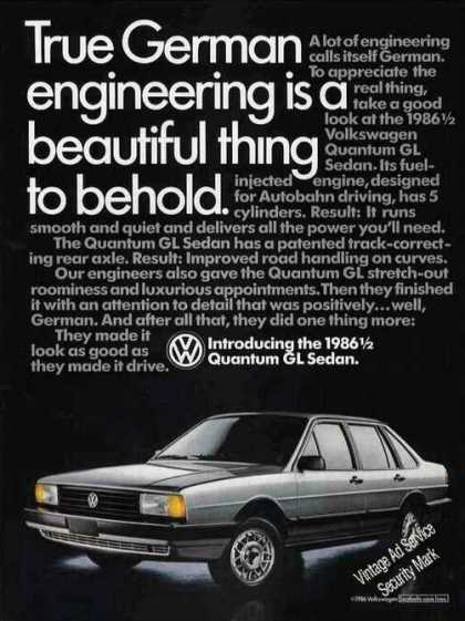 Vw Volkswagen Quantum Gl Sedan Beautiful Thing (1986)