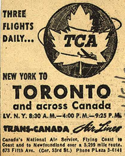 Trans-Canada Air Line's New York to Toronto – Three Flights Daily... (1945)