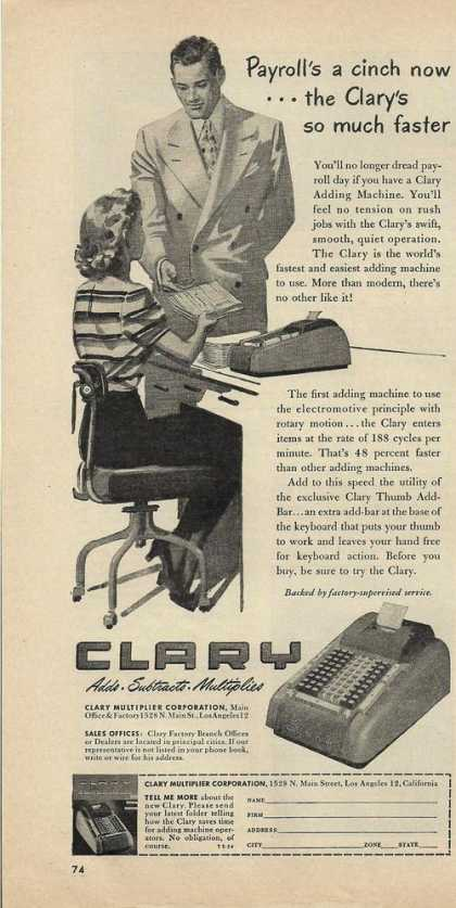 Clary Adding Machine Calculator (1948)