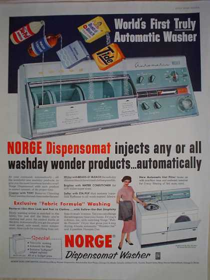 Norge Dispensomatic Washer Dispenses automatically (1958)