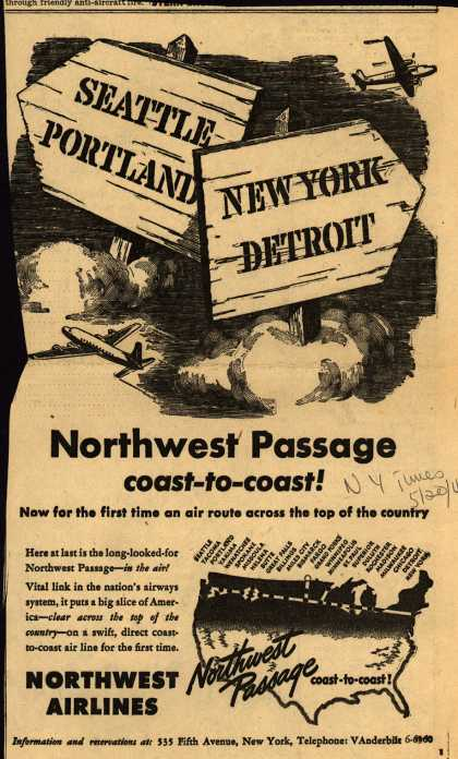 Northwest Airline's coast-to-coast travel – Northwest Passage coast-to-coast (1945)