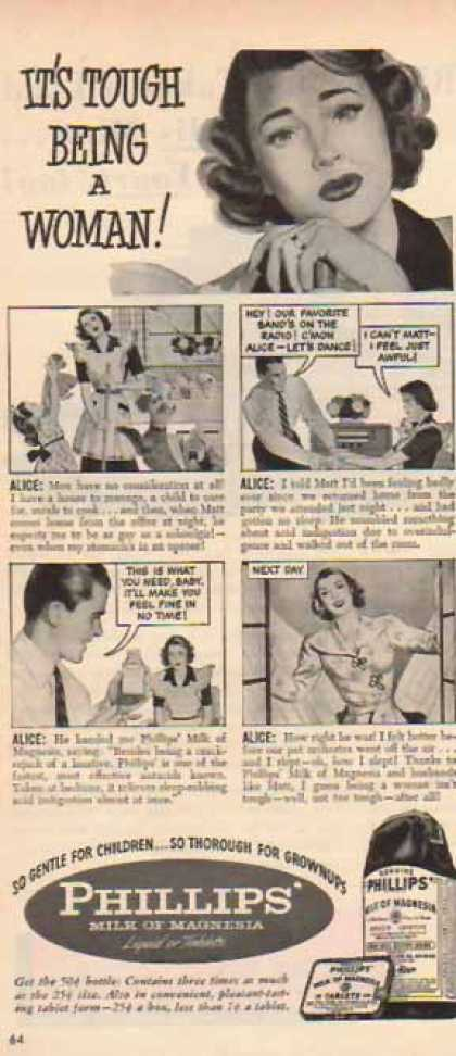 Phillips' Milk of Magnesia – Alice & Matt Comic: Tough Being a Woman (1948)