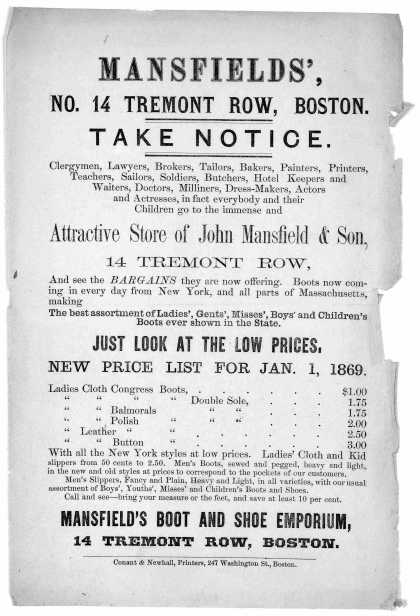 Mansfields' No. 14 Tremont Row, Boston. Take notice .... attractive store of John Mansfield & son ... Boston Conant & Newhall, Printers, 247 Washingto (1869)