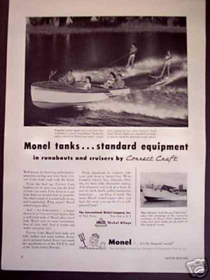 Water Skiing Photo Correct Craft Boat, Monel (1956)