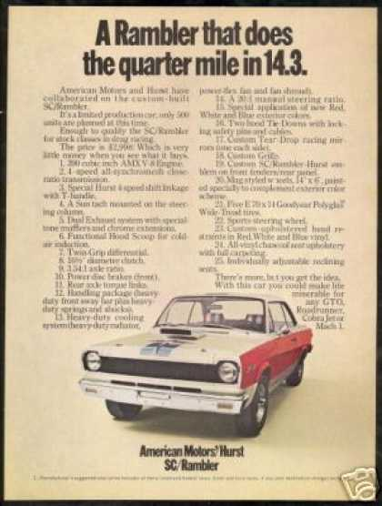 American Motors Hurst SC / Rambler Car Photo (1969)