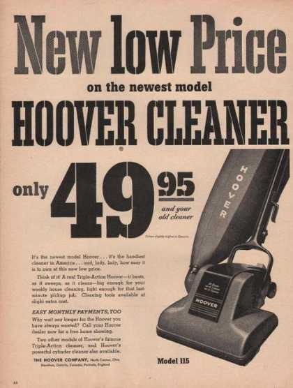 Hoover Vacuum Cleaner Low Price (1949)
