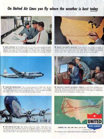 United Airlines Dc-6 Mainliner Airplane (1953)