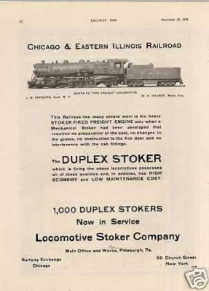 Loco. Stoker Ad Chicago & Eastern Illinois 2-10-2 (1918)