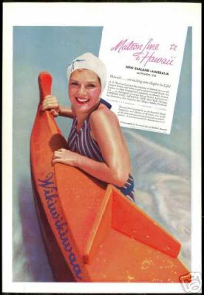 Matson Cruise Ship Line Hawaii Pretty Woman (1936)