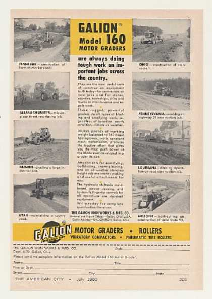 Galion Model 160 Motor Graders 8 States (1960)