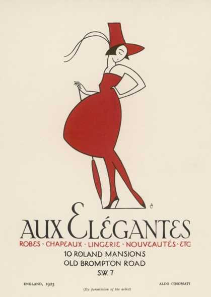 "Poster Advertising ""Aux Elegantes"" in London's Old Brompton Road"