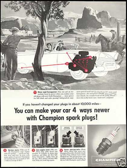 Champion Car Spark Plugs Southwest Cowboy Horse (1957)