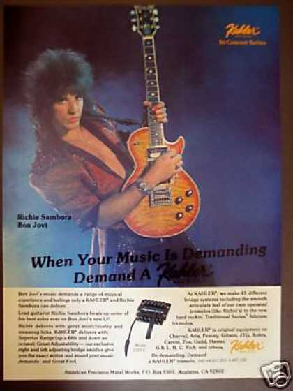 Richie Sambora of Bon Jovi Photo Kahler Print Ad X (1986)