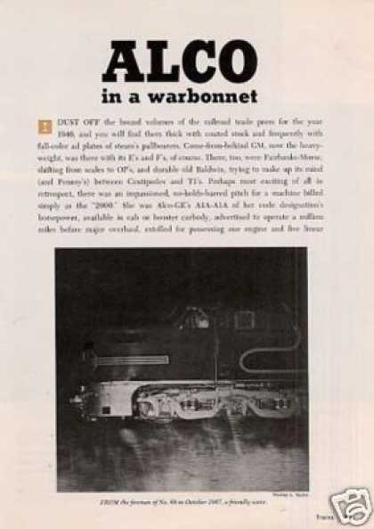 """Alco In a Warbonnet"" Article/santa Fe Pa's (1971)"
