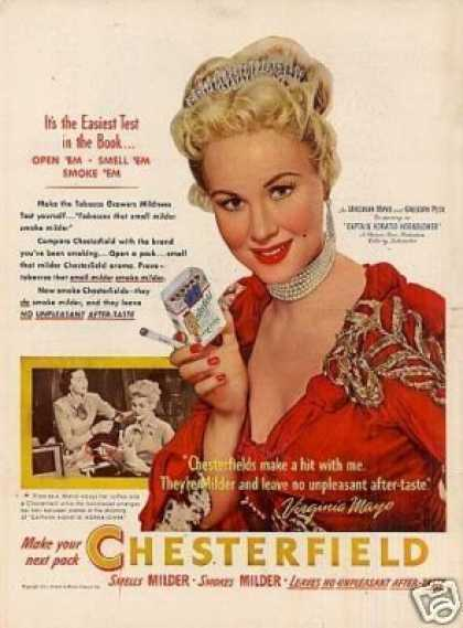 Chesterfield Cigarettes Ad Virginia Mayo (1951)