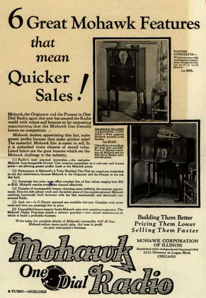 Mohawk Corporation of Illinoi's Various – 6 Great Mohawk Features that Mean Quicker Sales (1927)