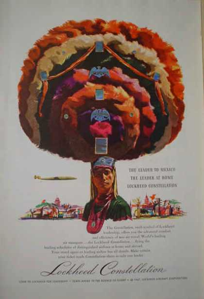 Lockheed Constellation Aircraft Colorful Mexico Art (1947)