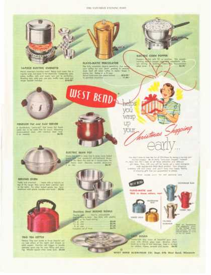 West Bend Server Oven Popper Bean Pot Ovenette (1952)