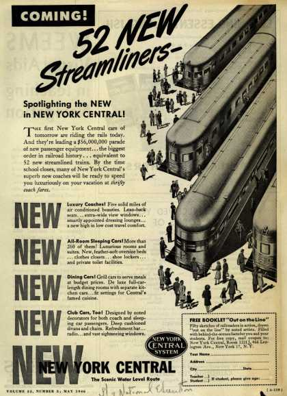 New York Central System's 52 New Streamliners – Coming! 52 New Streamliners (1946)