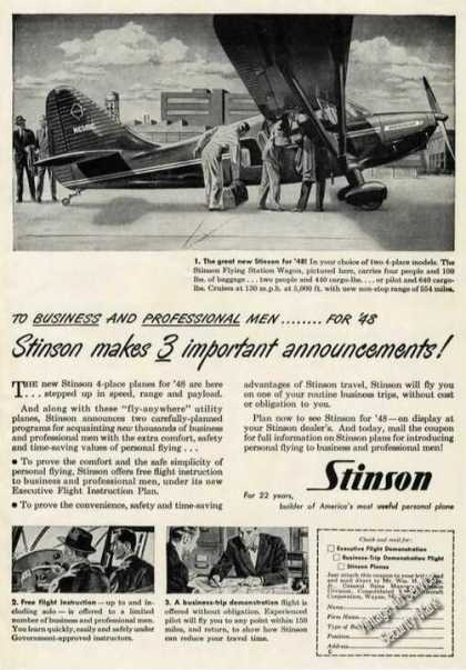 Stinson Flying Station Wagon Rare Plane (1948)