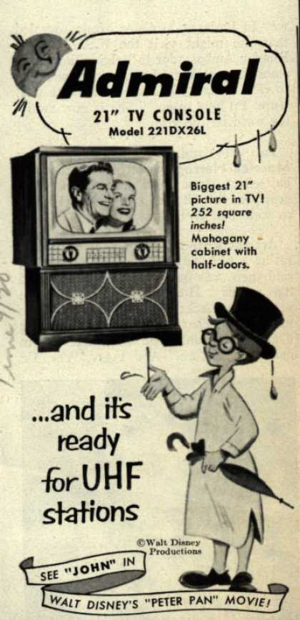 "Admiral Corporation's Television Console Model # 221DX26L – Admiral 21"" TV Console Model 221DX26L ... and It's Ready for UHF Stations (1950)"