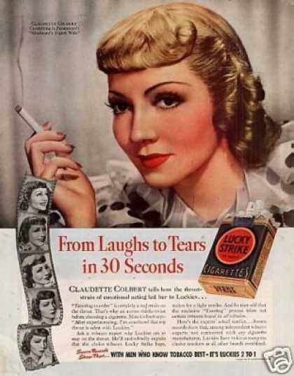 Lucky Strike Cigarettes Color Ad Claudette Colbert (1938)