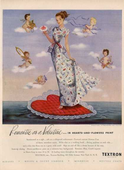 Textron Washable Rayon Dress Siebel Cherubs Ad T (1948)