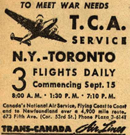 Trans-Canada Air Line's New York – Toronto – To Meet War Needs (1943)