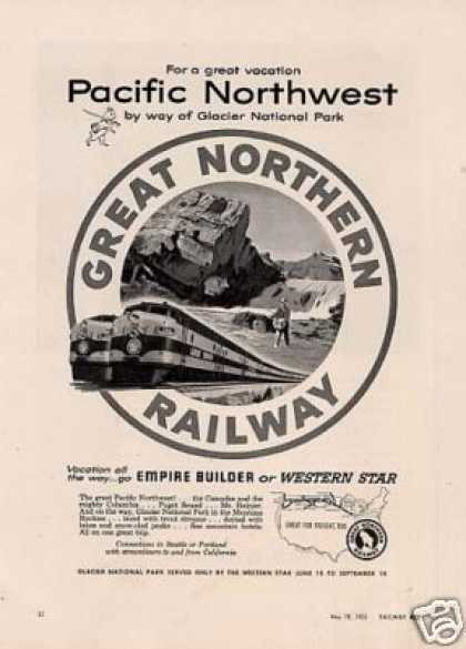"Great Northern Railway Ad ""For a Great Vacation.."" (1953)"