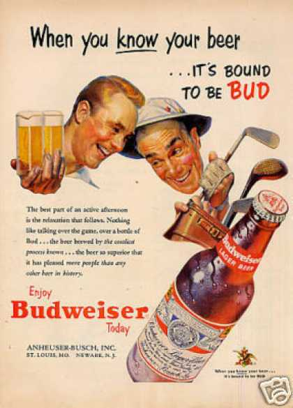 "Budweiser Beer Ad ""When You Know Your Beer... (1953)"