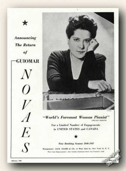 Guiomar Novaes Photo Pianist Rare Ad Music (1946)