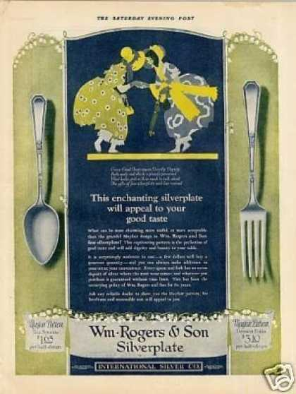 Wm. Rogers & Son Silverplate Color Ad Mayfair (1925)