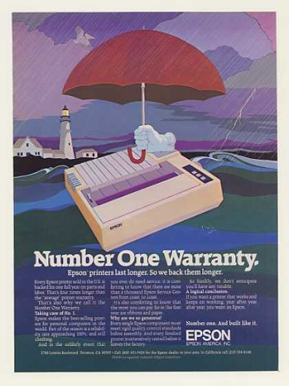 Epson Computer Printer Number 1 Warranty (1984)