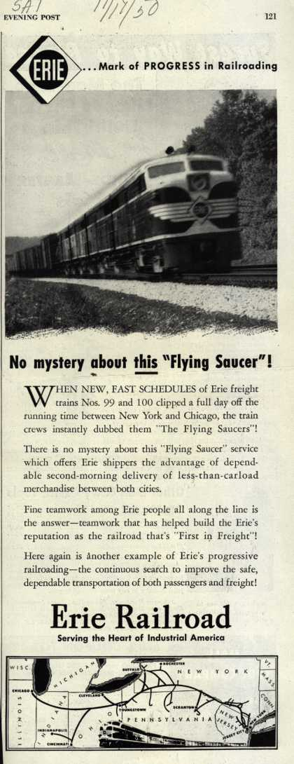"Erie Railroad – No mystery about this ""Flying Saucer"" (1950)"