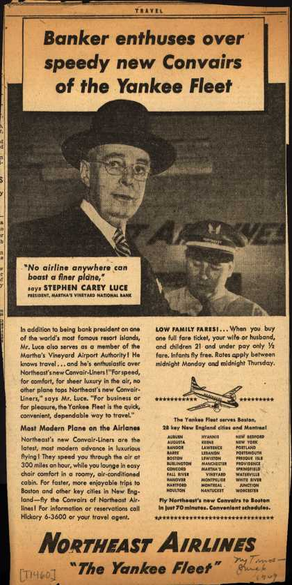 Northeast Airline's Convair Service – Banker enthuses over speedy new Convairs of the Yankee Fleet (1949)